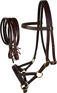 Horse Western Leather Tack Bitless Sidepull Bridle Reins Black 77RT0305