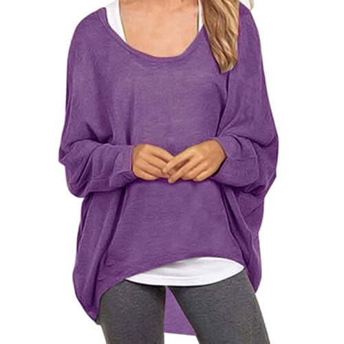 3a7db9a31a48 UGET Women s Sweater Casual Oversized Baggy Off-Shoulder Shirts Batwing  Sleeve Pullover Shirts Tops