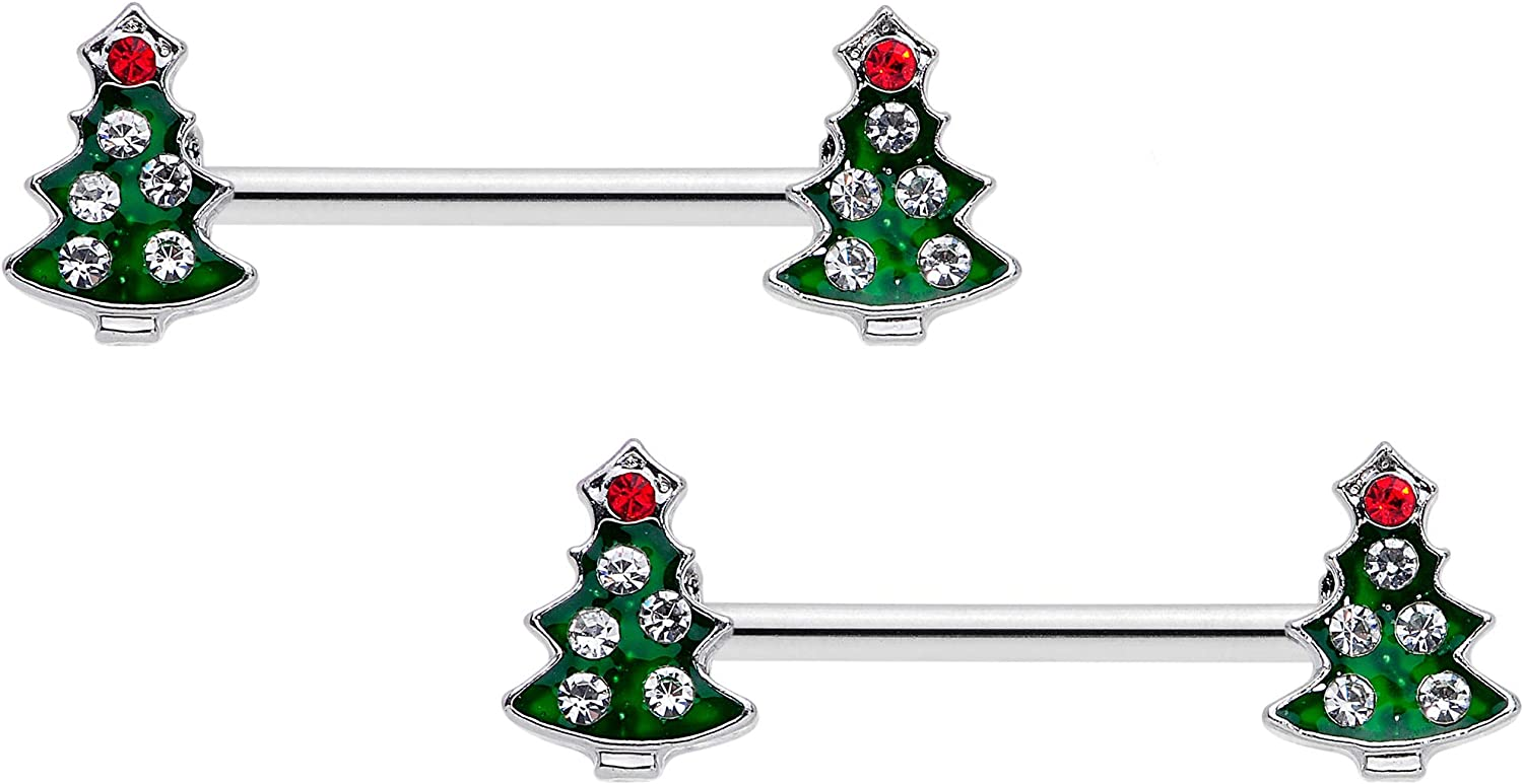 Body Candy 14G Womens Nipplerings Piercing 316L Steel 2Pc Red Accent Holiday Tree Nipple Ring Set 9/16