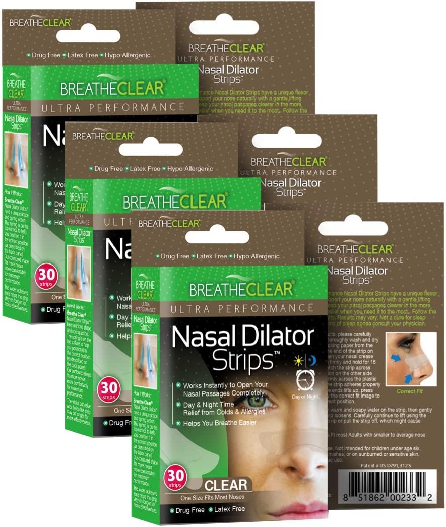 Breathe Clear® Ultra Performance Nasal Strips, Large 90 Count, Clear | Instant Nasal Congestion Relief | Perfect for Colds & Allergies | Helps Improve Sleep & Reduces Snoring: Health & Personal Care