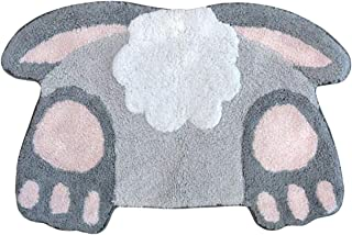 Celebrate Easter Bunny Tail Bath Rug, Spring Bathroom Decor, Plush Cotton Pile 20 x 30 Inches