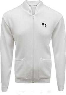 Islander Fashions Men's Golf White Knitted Jumper Sweater 2 Pocket Zipper Bowling Cardigan Top S/5XL