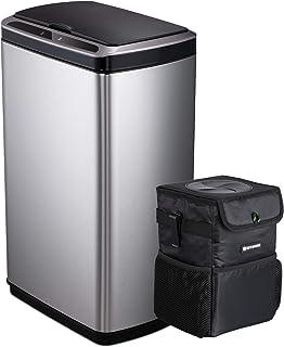 SANIWISE Automatic Sensor Trash Can 50 Liter/13 Gallon, Brushed Stainless Steel Kitchen Office Garbage Bin Plus Portable C...