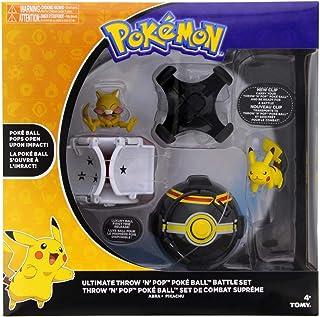 Pokemon Throw 'N' Pop Ultimate Pokeball Battle Set - Pokemon Toy Pikachu, Abra, Poké Ball, Luxury Pokeball, and 2 New Clips to Attach to Pokemon Belt - Time for a Pokemon Duel - Gotta Catch 'Em All