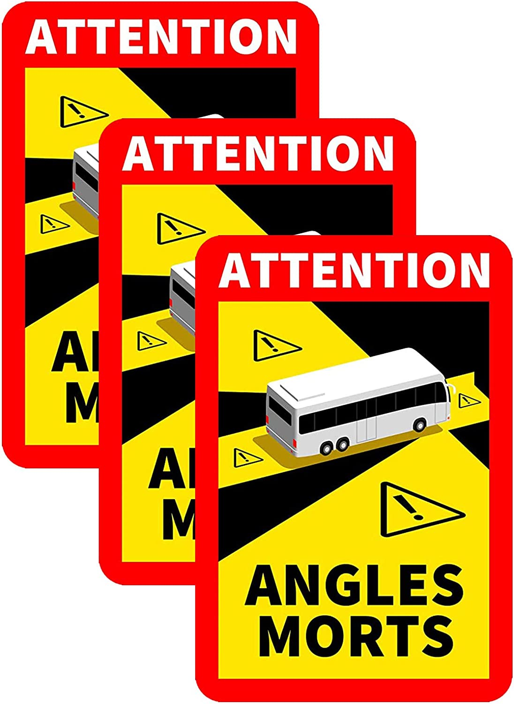Vobery Stickers 17x25cm Attention Dead Angles Adhesivos Adhesivo Especial para Trabajo Pesado Adhesivo Oficial para Camiones La Carga Total autorizada supera Las 3,5 toneladas de veh/ículos