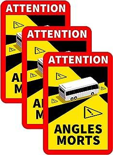 LKW/BUS Toter Winkel Aufkleber Frankreich'Angles Morts' Blind Spot auf Schweren Fahrzeugen   Wasserdicht   L.170 x H.250 Autoaufkleber Sicherheitswarnung Auto Selbstklebend (BUS 3 Stück)