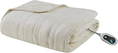 Beautyrest Foot Pocket Soft Microlight Plush Electric Blanket Heated Throw Wrap with Auto Shutoff, 50x62, Ivory