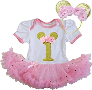 Kirei Sui Baby Girls 1st Birthday Polka Dots Bodysuit Tutu & Mouse Headband