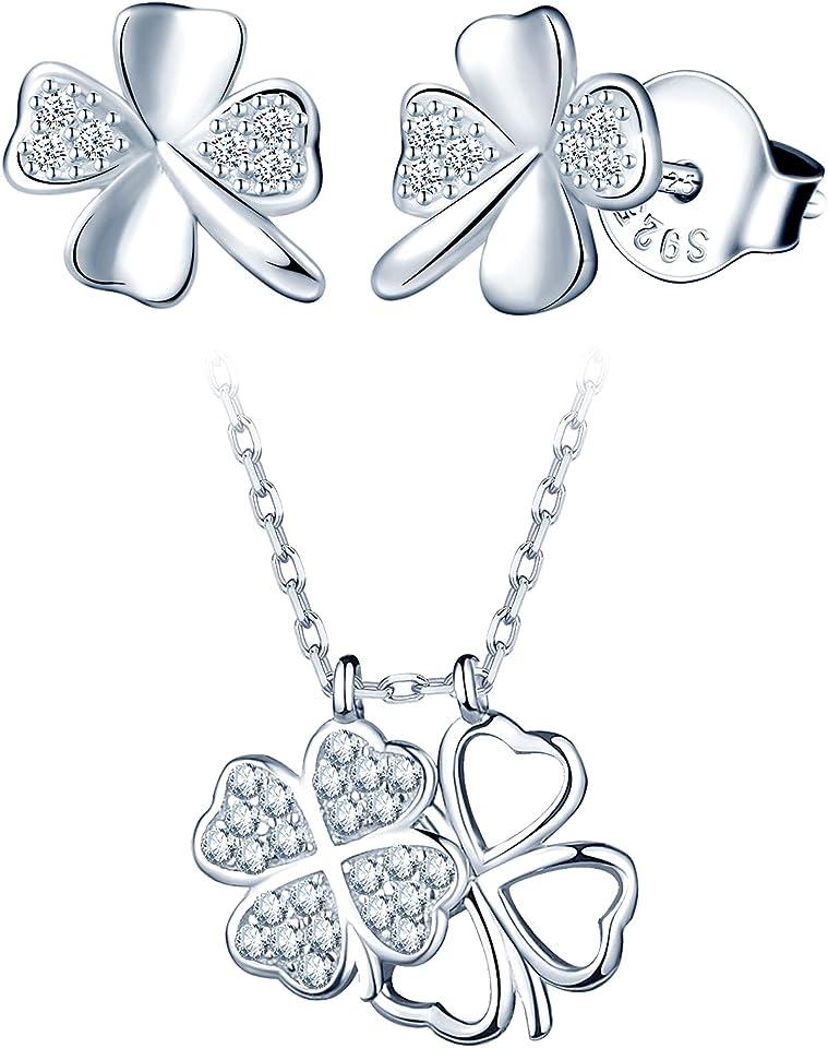 Schmuckset Damen Geschenke für Frauen Halskette Ohrringe Kette Set Schmuck Set Kleeblatt Klee Glück Valentinstag Geburtstag 925 Sterling Silber
