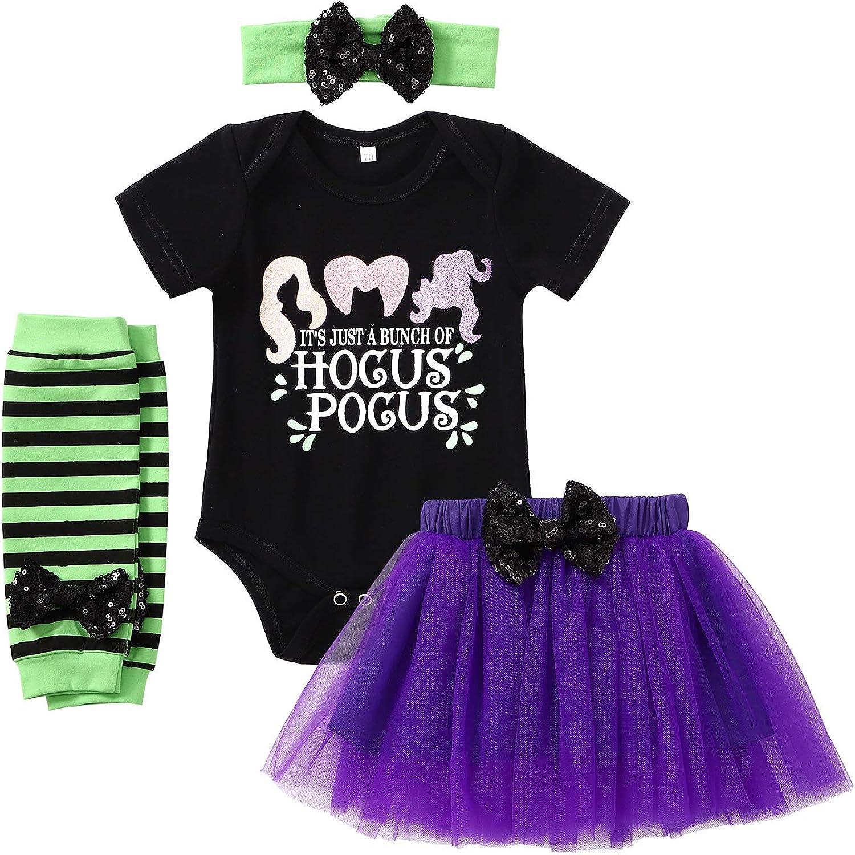 Baby Girls Halloween Outfits Newborn Short Sleeve Romper+Tulle Skirt+Striped Leg Warmer+Headband 4pcs Holiday Clothes Sets