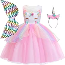 QPANCY Girls Unicorn Dresses Princess Pageant Outfits Matching Headband&Wing