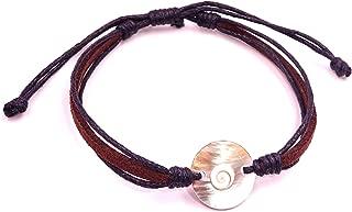 Collier oeil de Shiva et coquillage porte bonheur forme goutte artisanat Bali
