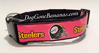 Hot Pink Pittsburgh Steelers Dog Collar with Charm Option