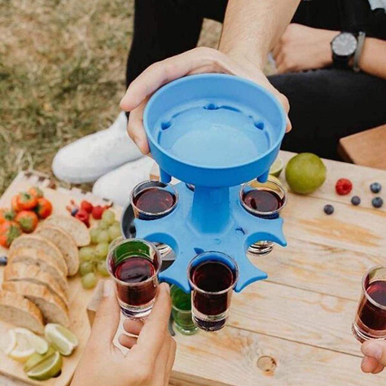 Blau-ohne Glas Bar-Schnapsspender Spender zum Bef/üllen von Fl/üssigkeiten,Cocktail-Shots Spender ASSDITED 6 Schnapsglasspender und Halter Carrier Caddy Liquor Dispenser Geschenke Trinkspiele