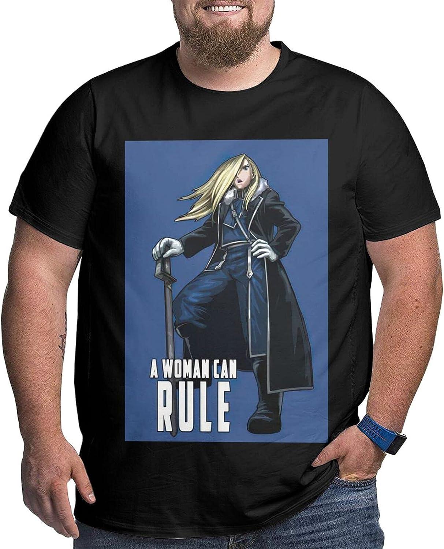 Fullmetal Alchemist Olivier Milla Armstrong Male Shirt Casual Short Sleeve Plus Size Cotton T-Shirt