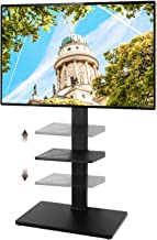 TAVR Swivel Floor TV Stand with Height Adjustable Mount for 32 37 42 47 50 55 60 65 inch Plasma LCD LED Flat or Curved Screen TVs 2-Tier Media Storage Stand Black
