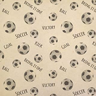 Sporty Soccer Kraft Present Gift Wrap Wrapping Paper