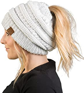 Funky Junque CC Ponytail Messy Bun BeanieTail Womens Beanie Solid Ribbed Hat Cap