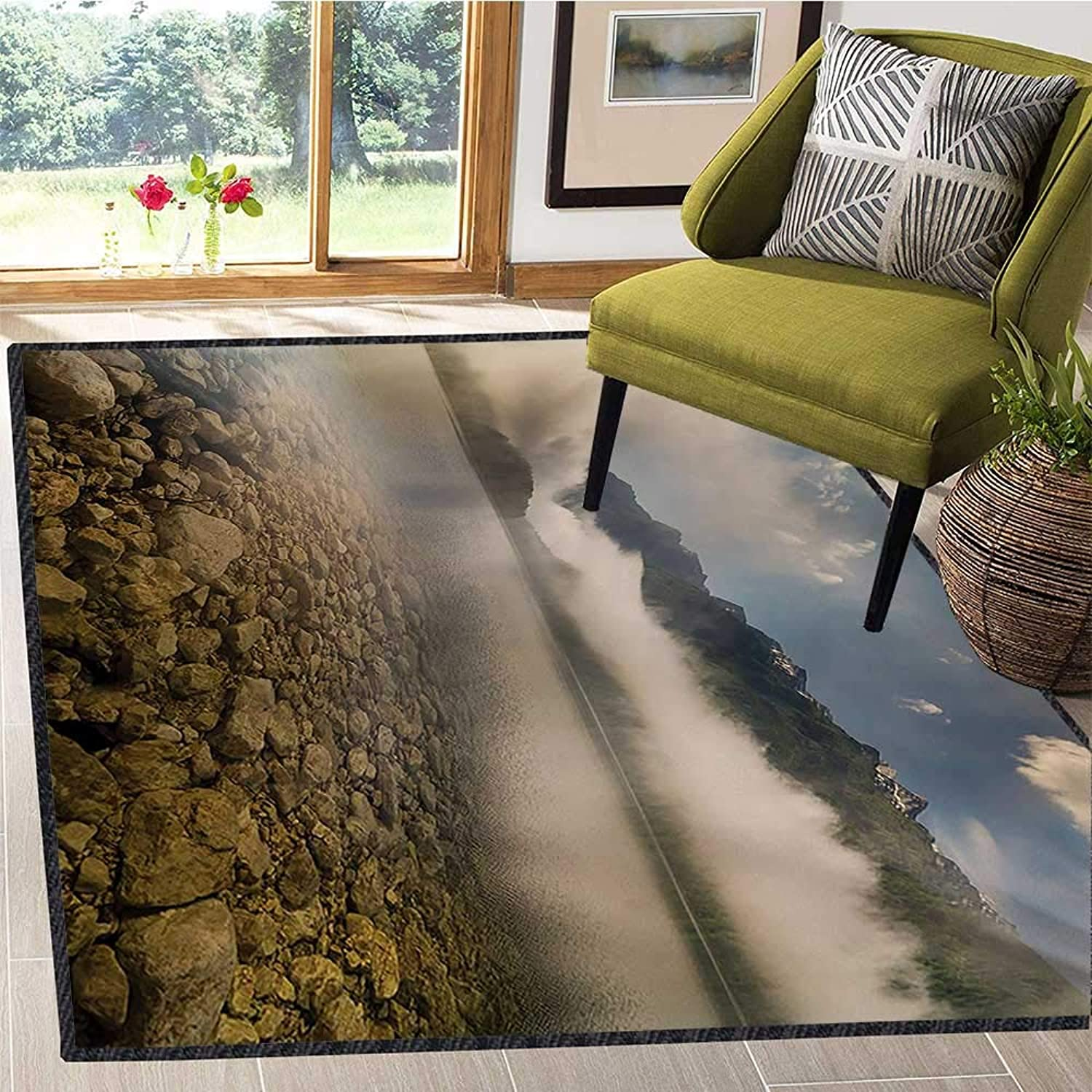 Nature, Floor Mat for Kids, Alpine Lake with Stones Rocks in Crystal Water with Misty Fogy Clouds Image, Door Mat Indoors Bathroom Mats Non Slip 4x5 Ft Grey and White