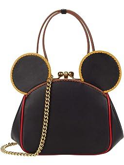 코치 COACH X Mickey Keith Haring Glovetanned with Edgestain Kisslock Bag,Black Multi