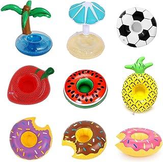 NIUPSKY 9PCS Inflatable Pool Float Drink Cup Holder, Inflable Bebida Flotante Portavasos, para la Piscina y Porta Bebidas para (Nube Conejito Unicornio pequeño Pato Amarillo Flamenco Pulpo Seta de
