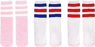 Kids Child Cotton Three Stripes Sport Soccer Team Socks Uniform Tube Cute Knee High Stocking for Boys Girls