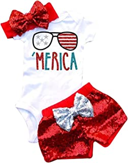 3Pcs Baby Girls Merica Flag Stars Print Romper Bodysuit+Sequins Shorts+Headbands Sets