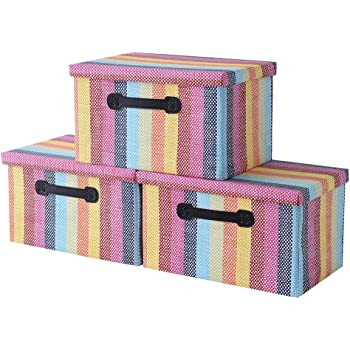 Storage Boxes[3-Pack]Fabric Storage Bins with Lid Organizer Bins for File Decorative Bins Storage Baskets for Shelves Memory Box for Office Organizer Cubes Containers
