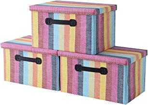 Storage Boxes[3-Pack] Fabric Storage Bins with Lid Organizer Bins for File Decorative Bins Storage Baskets for Shelves Mem...