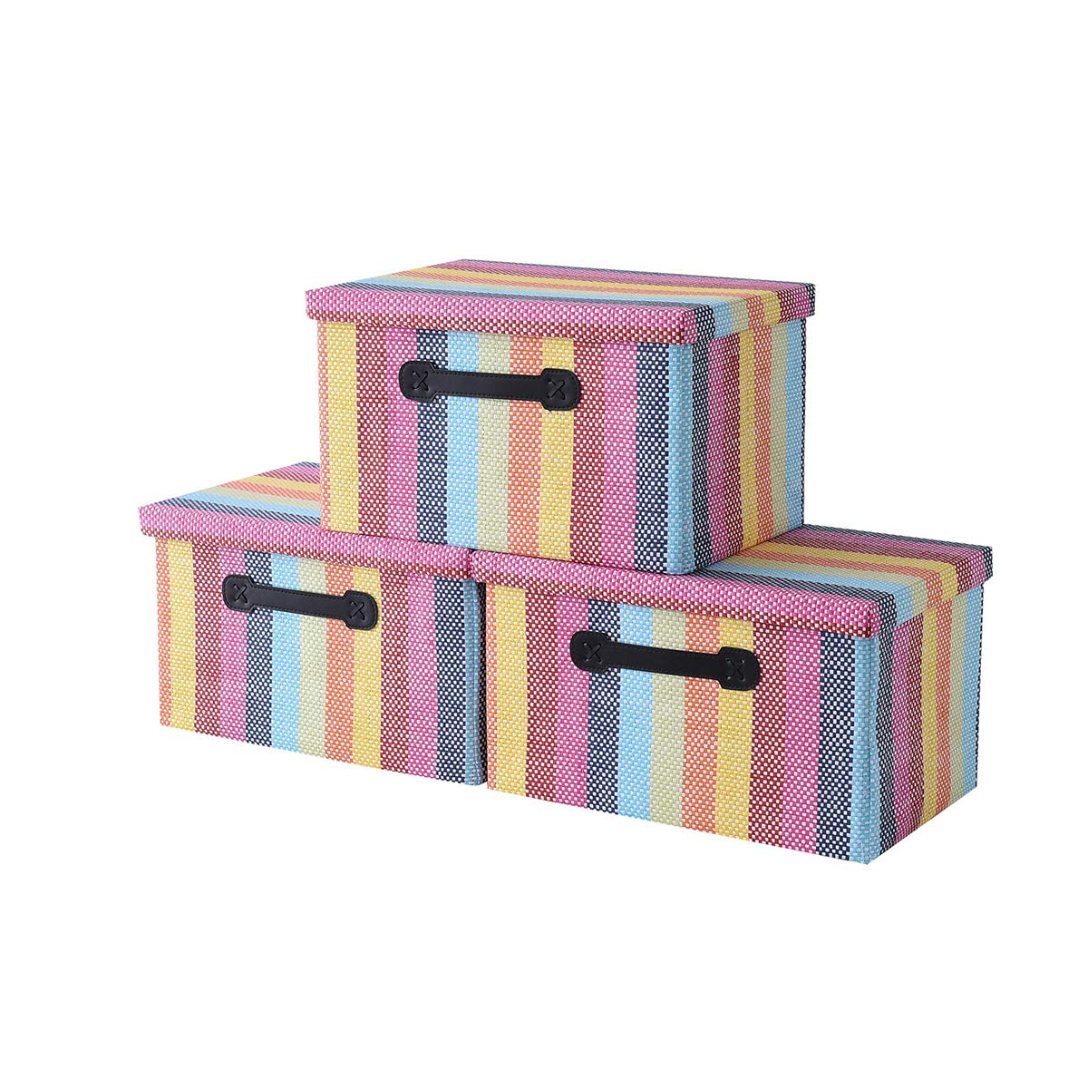 Jtirey Storage Boxes 3-Pack Fabric Bins Save money Lid Max 80% OFF Organiz with