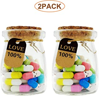 100 Pcs Capsule Letters Message in 2 Glass Bottles,Love Letter Half Color Pill for Valentine's Day, Birthday