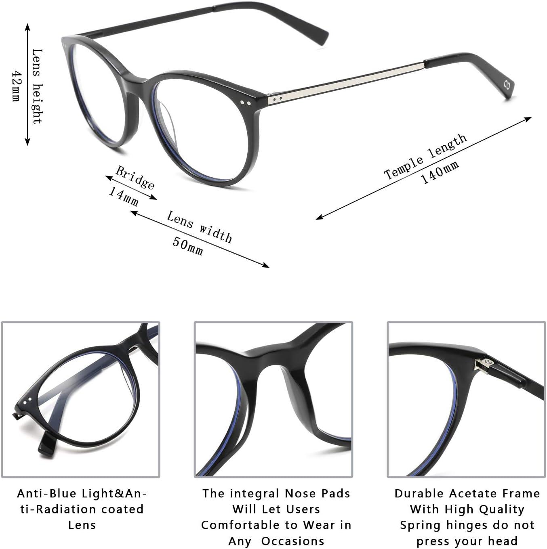 Zéro D Clean Lens Round Blue Light Blocking Glasses Computer Gaming/TV/Phones Anti Eyestrain for Men Women 1903