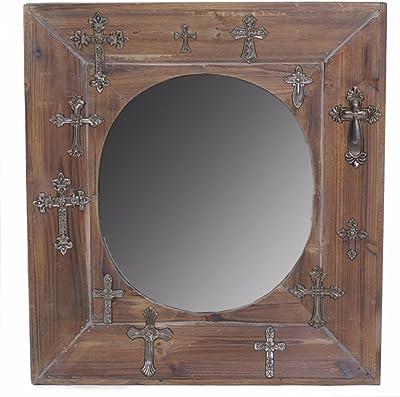 Benjara Wooden Mirror, Brown