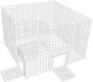 VENTOTA ペット用フェンス バリア ゲート ドア付 犬猫 メッシュ プレイサークル3535WH