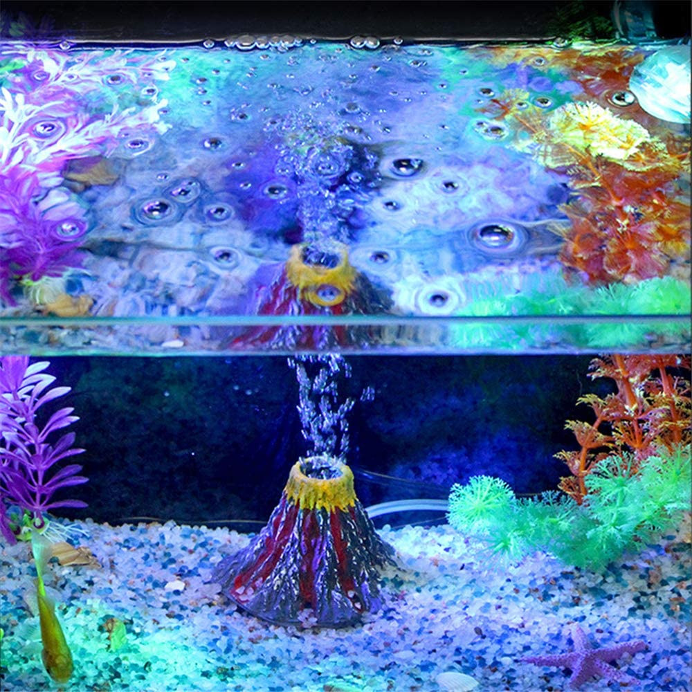 Panker Aquarium Volcano with Air Stone Bubbler, Realistic Fish Tank Volcano Ornaments Bubble Maker for More Oxygen Aquarium Decor, Great Addition to Fish Tank Beta Aquarium Large