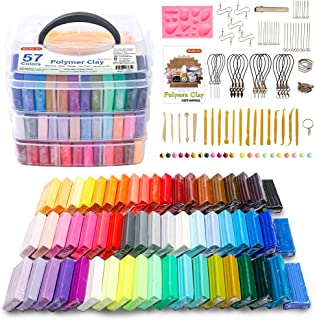 Polymer Clay, 57 Colors Shuttle Art 1.2 oz/Block Oven Bake Modeling Clay Kit with 19 Sculpting Clay Tools and Accessories,...
