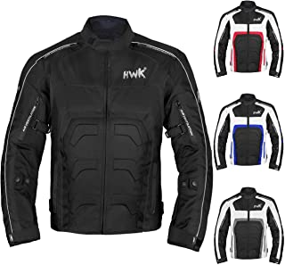 HWK Textile Motorcycle Jacket Motorbike Jacket Biker Riding Jacket Cordura Waterproof CE Armoured Breathable Reissa Membrane - Removable Thermal lining - 1 YEAR WARRANTY!! (X-Large, Black)