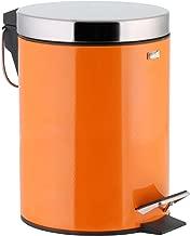Wenko Leman Cubo de Basura con Pedal 3L 17.0 x 17.0 x 27.0 cm Acero Inoxidable Naranja
