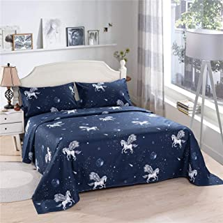 Bedlifes Space Sheets Full Sheet Set Kids Bedding Set Stars Universe Planets with Horses Deep Pocket Bed Sheets Flat Sheet& Fitted Sheet with Pillowcases 4PCS Navy Full