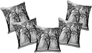 RADANYA Tree 3D Printed Polyester Cushion Cover Set of 5 Pcs - 16x16 Inch, Ivory