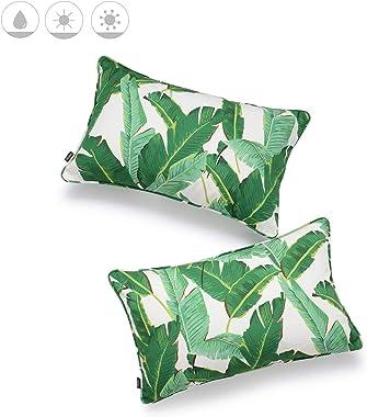 "Hofdeco Tropical Indoor Outdoor Indoor Outdoor Pillow Cover ONLY, Water Resistant for Patio Lounge Sofa, Green Banana Leaf, 12""x20"", Set of 2"