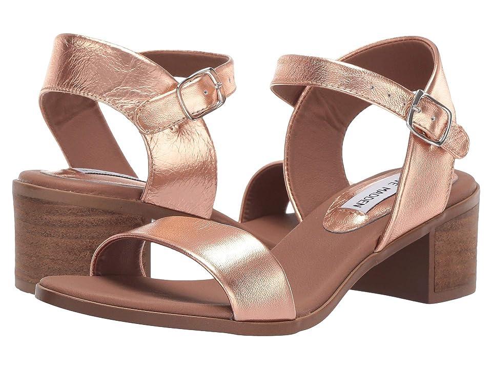 Steve Madden April Block Heel Sandal (Rose Gold) Women