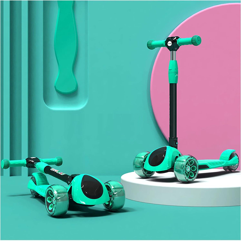 Patinetes para niños, patinetes de tres ruedas para niños y niñas, patinetes para niños plegables regulables en altura, con ruedas intermitentes de PU, carga 100KG -B/D