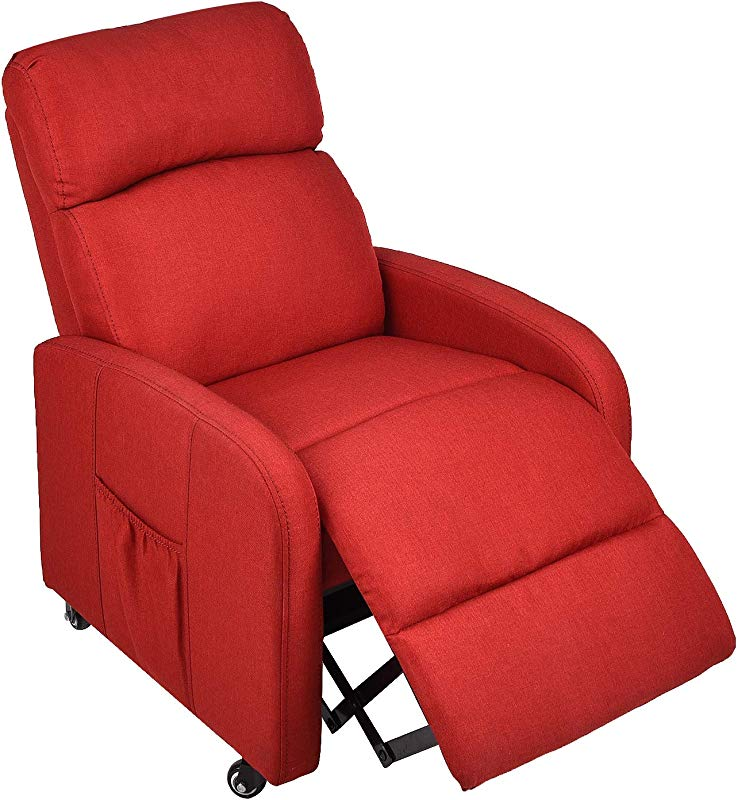 Kids Recliner Sofa W Storage Pocket Lockable Wheels Children Contemporary Reclining Sofa Upholstered Armchair For Living Room Bedroom Red