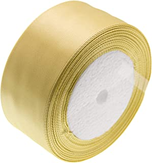 ATRibbons 50 Yards 1-1/2 inch Wide Satin Ribbon Perfect for Wedding,Handmade Bows and Gift Wrapping,25 Yards/Roll x 2 Rolls (Champagne)