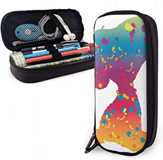 Snoopy in Rainbow Silhouette with Splatter Paint Big Capacity Pencil Case Leather Pen Case Stationery Bag Zipper Pouch Pencil Holder
