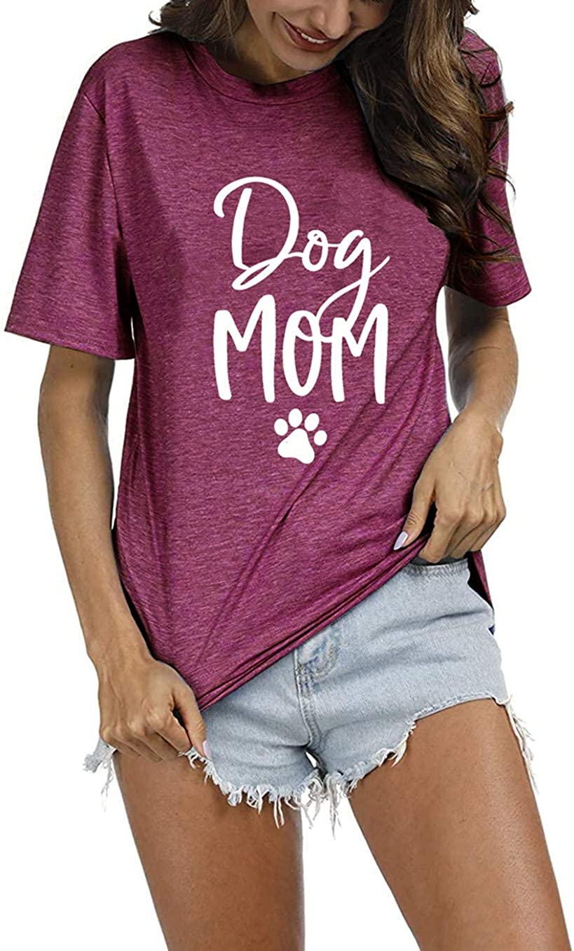 Dog Low price Mom Shirt Women Cute Print N Mail order Graphic Round Tshirts Funny