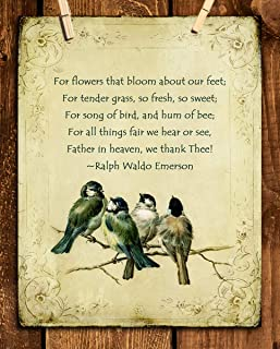 """Ralph Waldo Emerson Poem-""""We Thank Thee""""- 8 x 10"""" Poetic Wall Art. Distressed Floral-Birds Parchment Print-Ready To Frame. Retro Home-Office-Study-School Decor. Great Art Gift for Poetry Fans."""