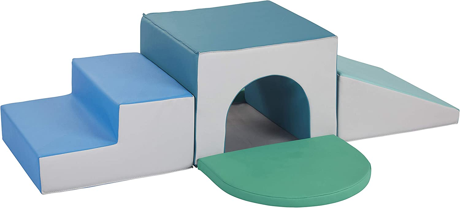 FDP SoftScape Single Tunnel Play Foam Climber Plus, Beginner Toddler Soft Structure for Active Playtime (5-Piece Set) - Contemporary