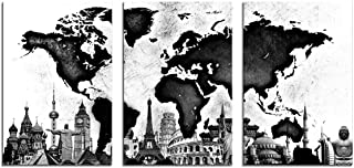 HLJ ART World Map Canvas Wall Decor Black and White Abstract Picture Prints Stretched and Framed Hang for Home Office Wall Decoration 16x24in